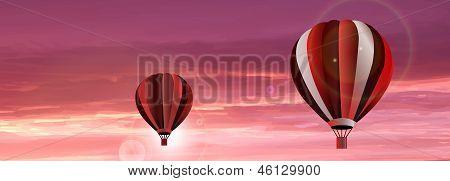 Vector Hot Air Balloon On Sky