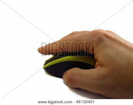 hand clicking computer mouse