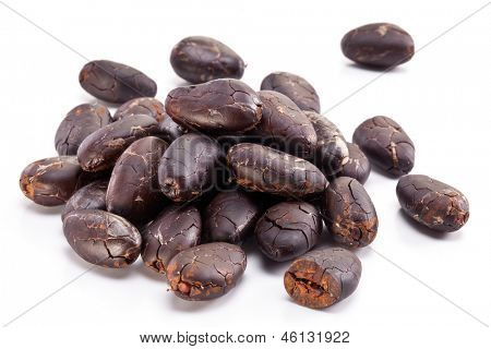 Cocoa beans on a white background.