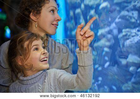 Little girl admiringly shows her mother something in big aquarium at oceanarium, focus on girl face