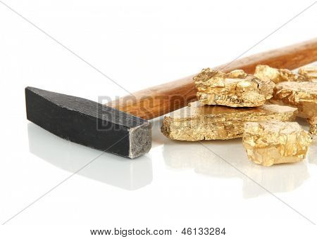 Golden nuggets with hummer isolated on white