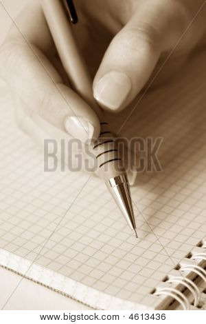 Female Hand Writing On Page.