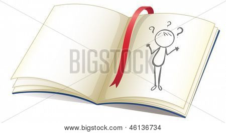 Illustration of a notebook with a drawing of a girl and a red bookmark on a white background