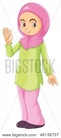 Illustration of a female Muslim on a white background