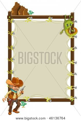 Illustration of a cowboy infront of an empty framed banner on a white background
