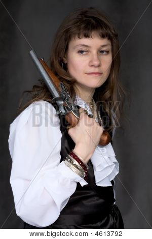 Girl - Pirate With Ancient Pistol In Hand