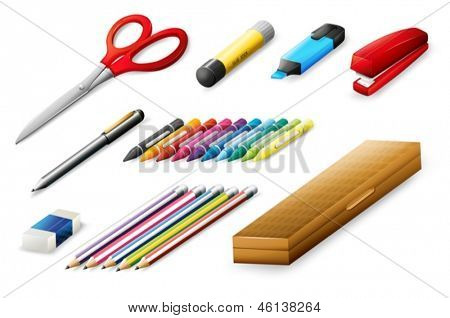 Illustration of the different school supplies on a white background