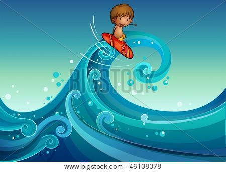 Illustration of a young boy surfing
