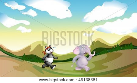 Illustration of a panda and an elephant walking along the mountains
