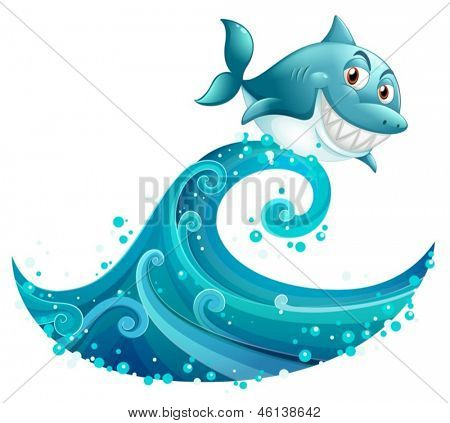 Illustration of a shark above the big wave on a white background