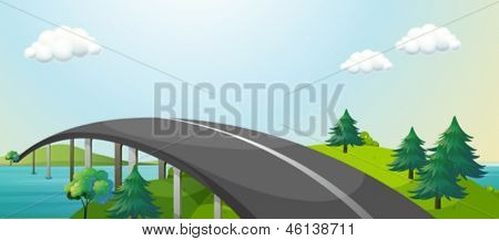 Illustration of a curve road connecting two mountains