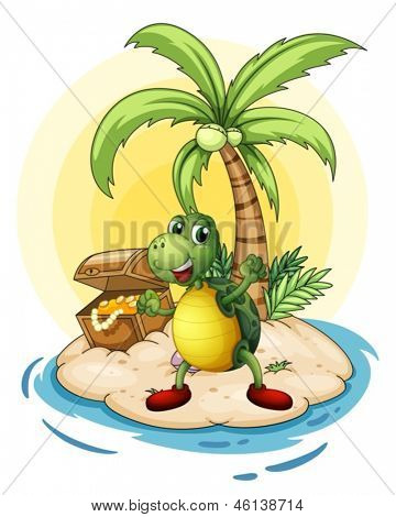 Illustration of a turtle with a treasure at the back in a small island on a white background