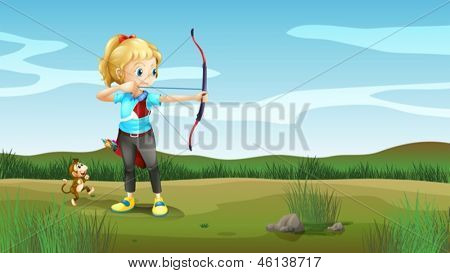 Illustration of a girl holding an archery with a monkey at the back