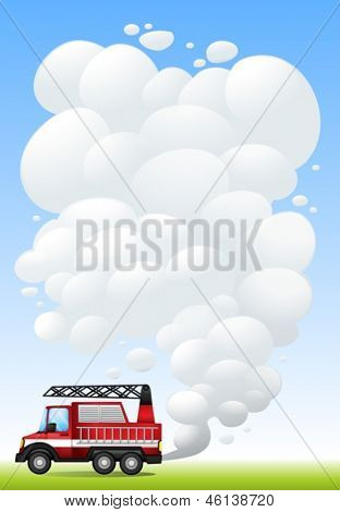 Illustration of a car with smoke