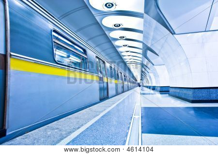 Train On Platform In Subway