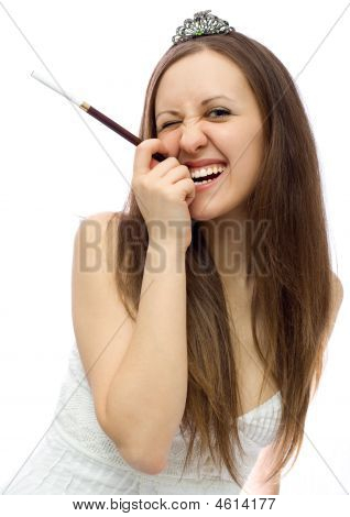 Girl With Hairgrip And Cigarette Holder