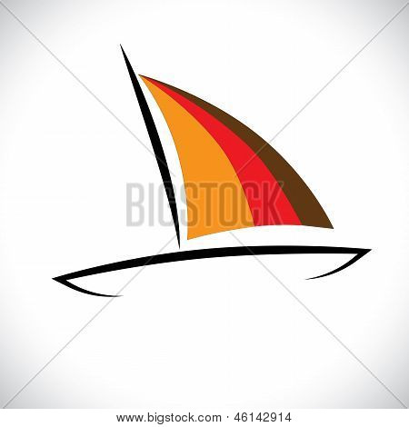 Colorful Boat Or Canoe Icon Sailing In Sea- Vector Graphic