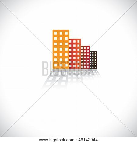 Colorful Commercial Buildings,offices, Apartments- Vector Graphic