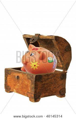 Piggybank And Treasure Box