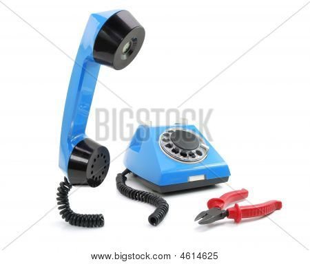 Broken Blue Phone