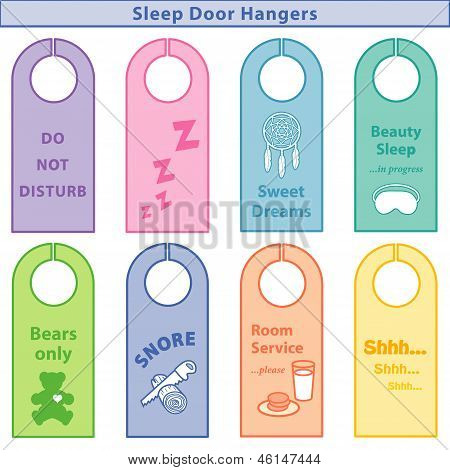 Sleep Bedroom Door Hangers, Pastels