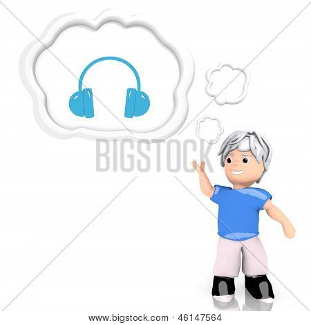 headphones icon  thought by a 3d character