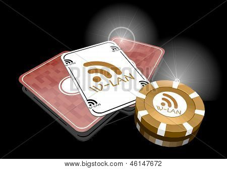 Illustration of a glaring w-lan icon  on poker cards