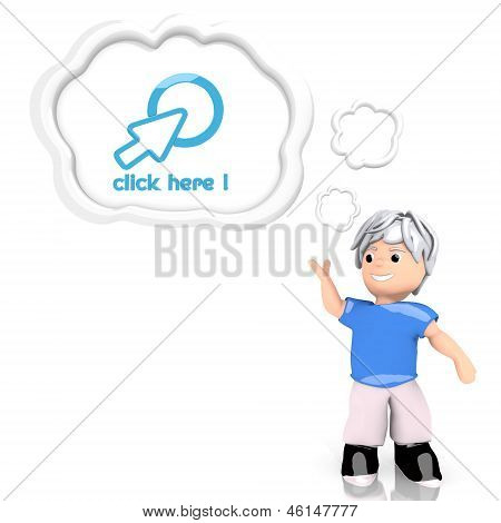 click here symbol  thought by a 3d character