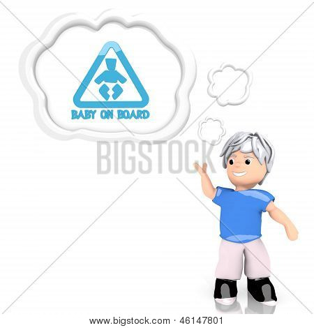 baby on board symbol  thought by a 3d character