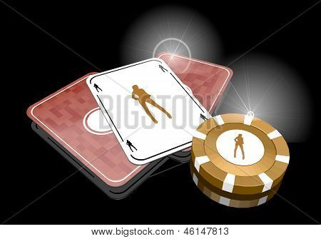 3d graphic of a dancing sexy icon  on poker cards
