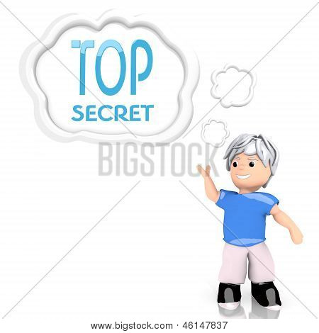 top secret symbol  thought by a 3d character