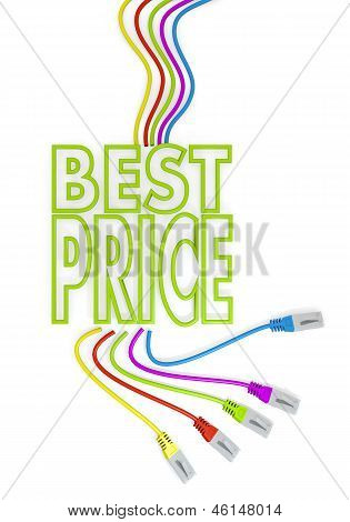 best price symbol with colourful network cable