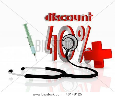 discount symbol with stethoscope and injection