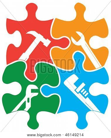 Four colored individual jigsaw piece shapes with tool outlines.
