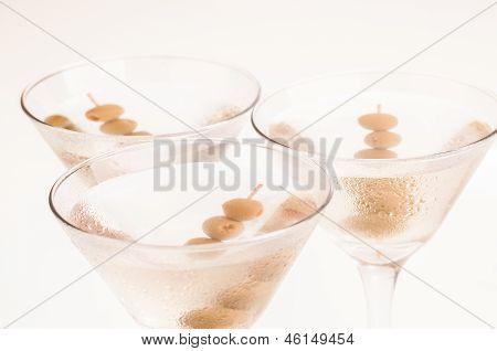 Three Dry Martini Cocktails