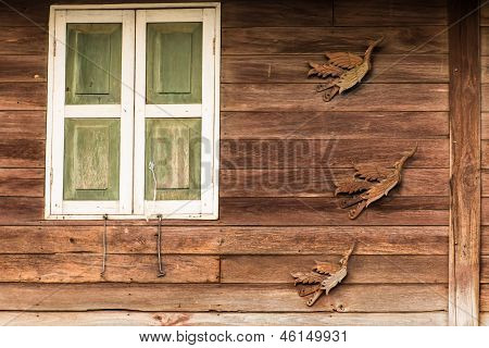 Old Wooden Window In Thai Style