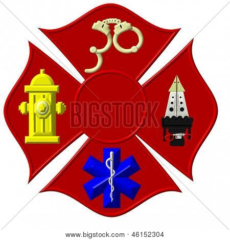 High color fire service based Maltese cross