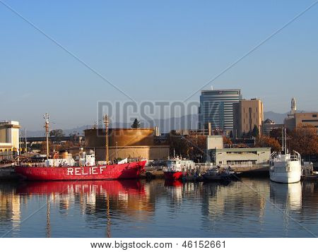 Relief Boat And Presidents Yacht Sit In Oakland Harbor