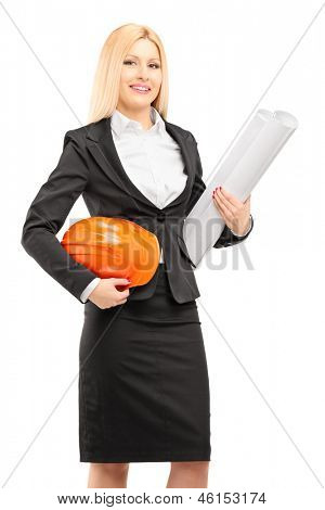 Female architect in black suit holding a helmet and a blueprint isolated against white background