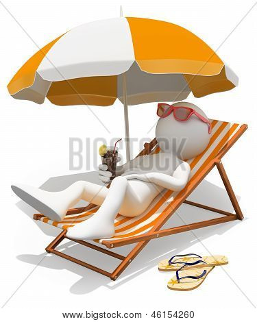 3D White People. Sunbathing On A Lounger