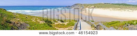 Panorama from Amoreira beach in the Algarve Portugal