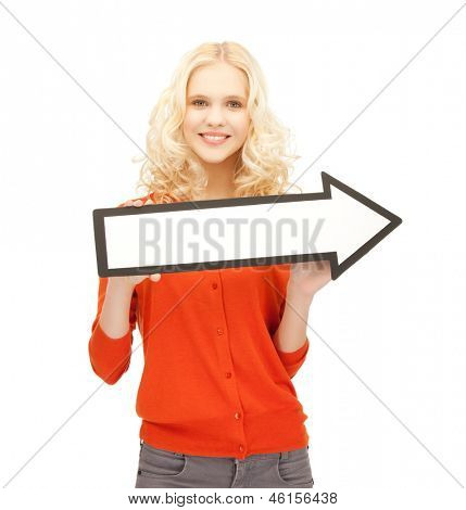picture of smiling girl with direction arrow sign..
