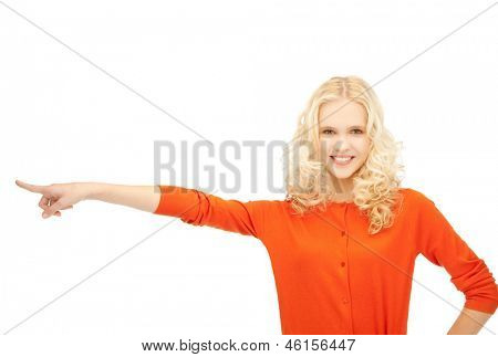 picture of smiling girl pointing her finger sideways