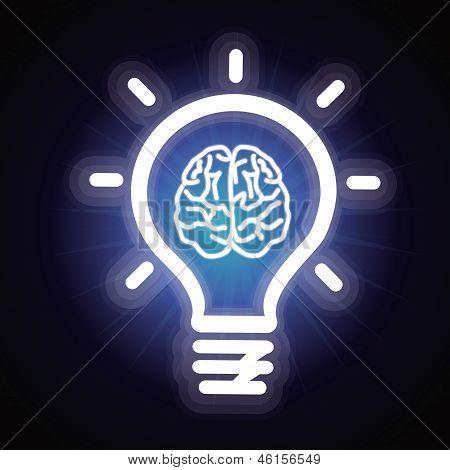 Vector Light Bulb And Brain Icon