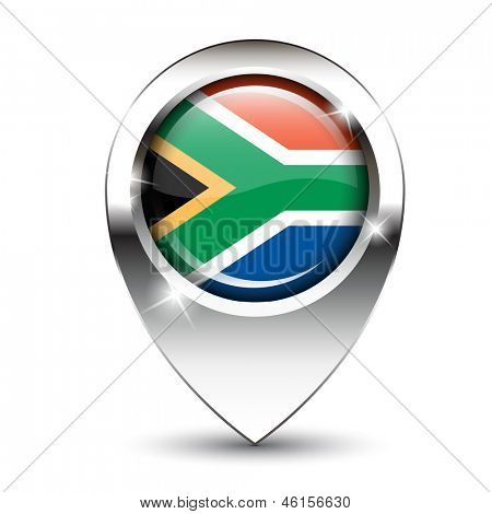 South African flag on glossy map pin, against white background with shadow. Also available in vector format.