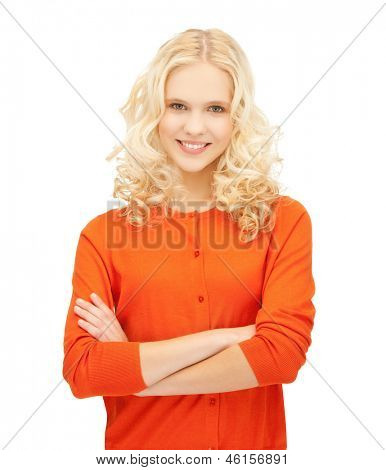 bright picture of smiling young girl posing