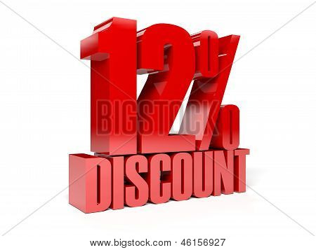 12 percent discount. Red shiny text. Concept 3D illustration.