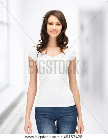 picture of happy woman in blank white t-shirt