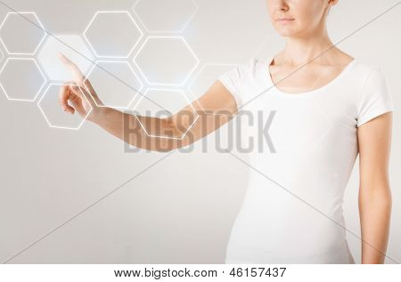 picture of woman hand pressing virtual button