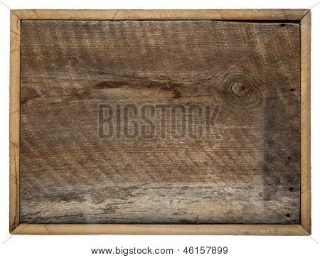 rough blank barn wood board sign with a frame isolated on white